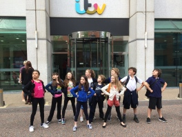 Striking our Matilda pose outside ITV's studio on the Southbank