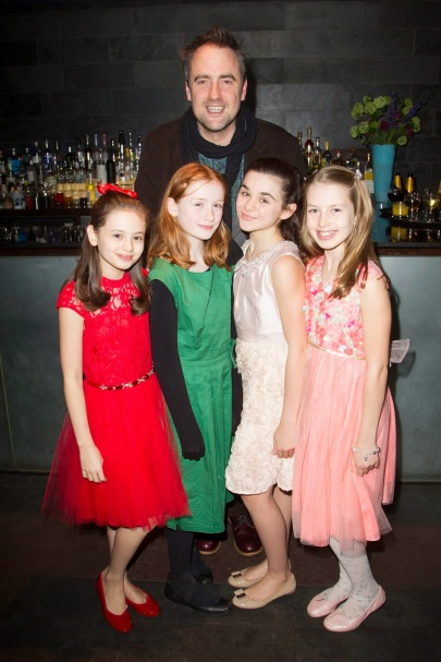 The Nether opening night party with the girls playing Iris, and the Director, Jeremy Herrin