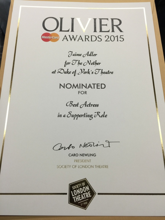 My Olivier Award Nomination certificate, Best Actress in a Supporting Role, Iris, The Nether