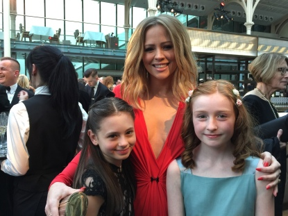 Jaime Adler, Perdita Hibbins with the stunning Kimberley Walsh at the Olivier Awards 2015, Royal Opera House
