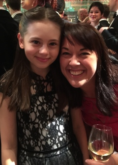 Jaime Adler and Laura Bangay, Children's Musical Director at Matilda The Musical, pre-Olivier Awards party