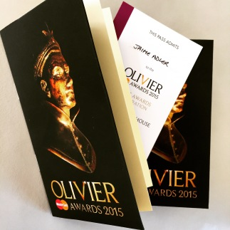 My invitation to the Olivier Awards ceremony, Royal Opera House, 2015