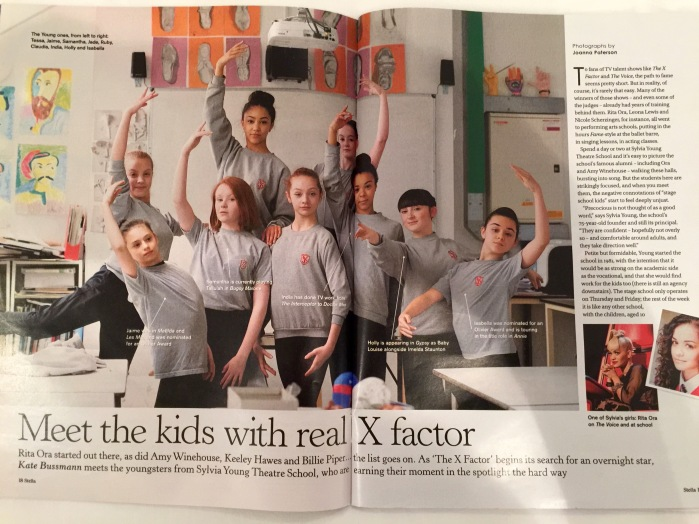 Jaime Adler featured in the Sunday Telegraph, studying at Sylvia Young Theatre School (July '15)