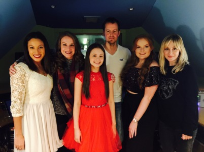 West End MT's Director & Principal Lindsey Page, Maddie Hope Coelho, Jaime Adler, Nicole Lotters and Helen Aylott recording 'Love is Christmas' at Ross J Simpson's Woodbury Recording Studios.
