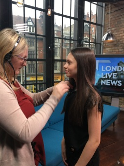 Jaime Adler be mic'd up at London Live News studios